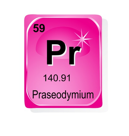 actinoids: Praseodymium chemical element with atomic number, symbol and weight