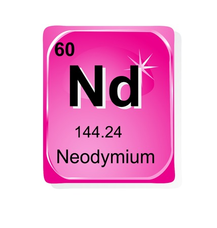 actinoids: Neodymium chemical element with atomic number, symbol and weight