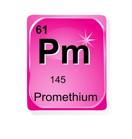 actinoids: Promethium chemical element with atomic number, symbol and weight Illustration
