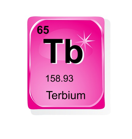 Terbium chemical element with atomic number, symbol and weight Illustration