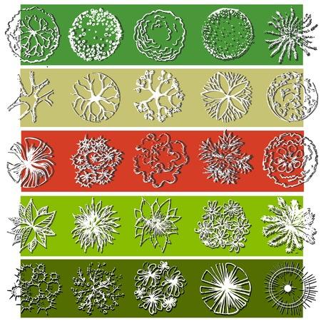 architectural elements: A set of treetop symbols, for architectural or landscape design