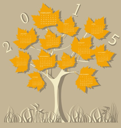 Tree calendar for 2015 year on leaves Vector