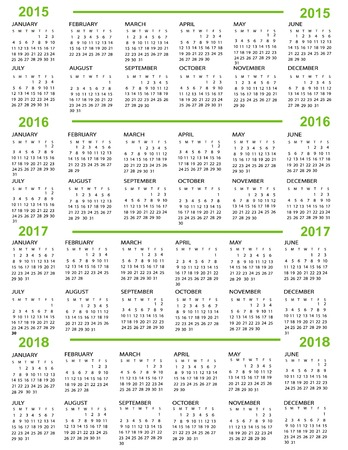 Calendar, New Year    2015, 2016, 2017,  2018 with green lines Vector
