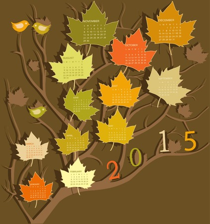 Tree shape calendar for 2015 Vector
