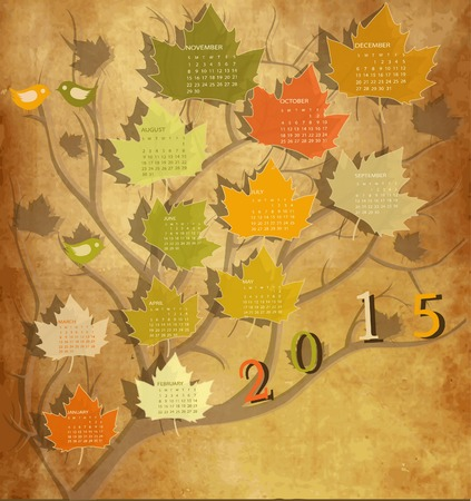 Tree shape Vintage calendar for 2015  photo