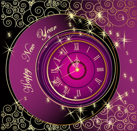 greetingcard: Happy New Year background with clock Illustration