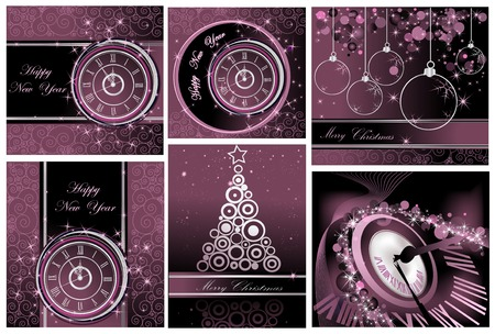 greetingcard: Collection of Happy New Year and Merry Christmas backgrounds