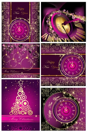 Collection of Happy New Year and Merry Christmas backgrounds Vector