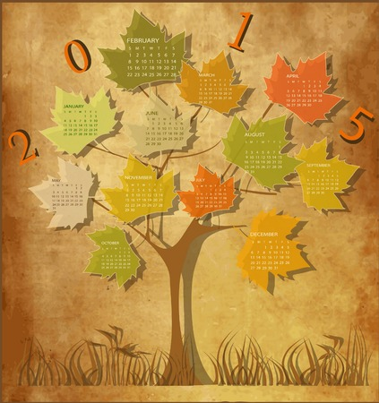 Tree shape Vintage calendar for 2015 Vector