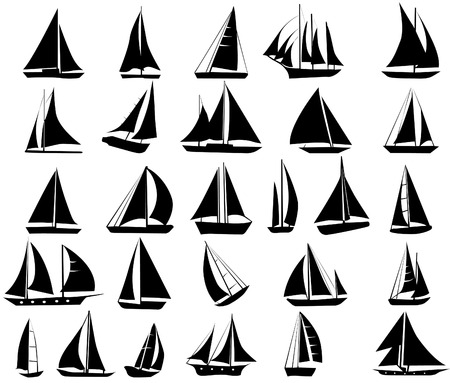 sailboat race: A set of vector silhouettes of yachts