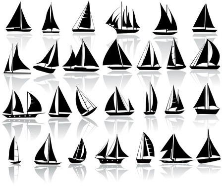sailboat: A set of vector silhouettes of yachts