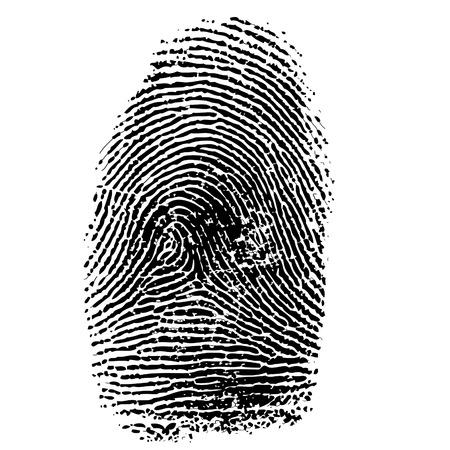 Vector illustratie van de vingerafdruk op wit wordt geïsoleerd