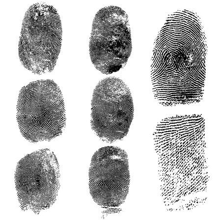 Set von Fingerabdrücken, Vektor-Illustration isoliert auf weiß