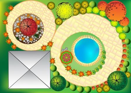 Landscape Plan Vector avec des symboles cime des arbres