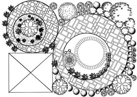 tree plan: Vector Landscape Plan with treetop symbols