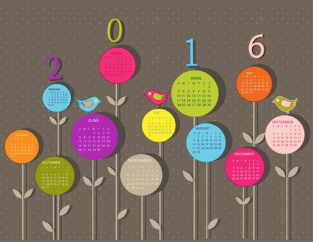 schedule: Calendar for 2016 year with flowers