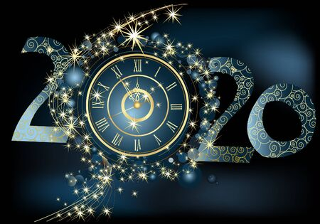 Happy New Year 2020 background gold and blue Stock Illustratie