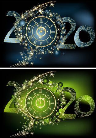 Happy New Year 2020 background, gold, green and blue with clock Ilustrace