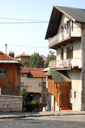 herzegovina: Houses in the street in Sarajevo, Bosnia and Herzegovina.