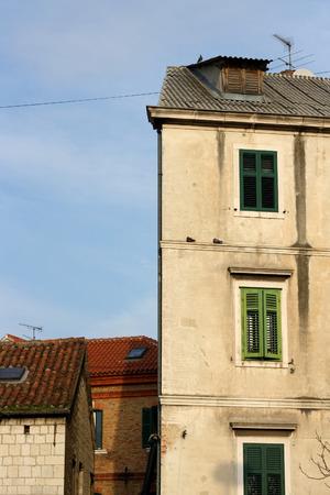 vertical format: Old houses in Split, Croatia. Natural light, vertical format.