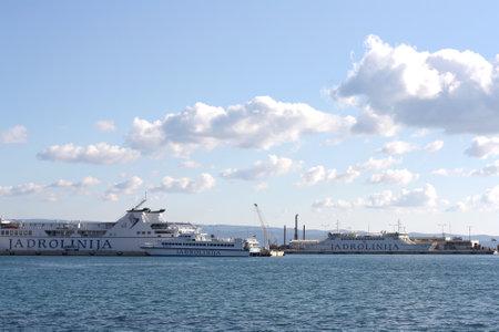 passenger ships: Split, Сroatia - February 16, 2015: Passenger ships in harbour in Split, Croatia.