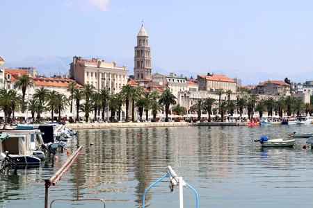 bell tower: Waterfront in Split Croatia with famous bell tower.
