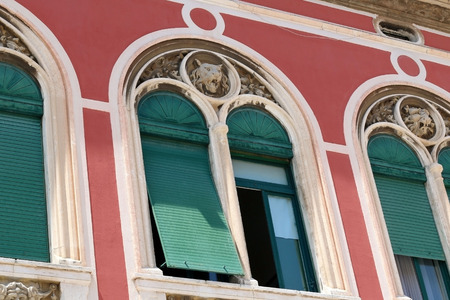 architectural  detail: Architectural detail on historic building complex Prokurative in Split, Croatia. Stock Photo