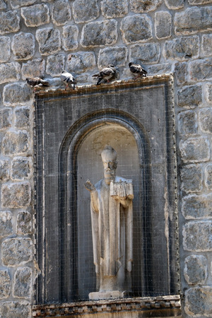Statue of Saint Blaise in Dubrovnik, Croatia. Saint Blaise is patron saint of Dubrovnik.