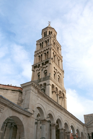 patron of europe: Saint Domnius bell tower on Peristil Square in Split, Croatia. Split is famous travel destination and UNESCO World Heritage Site.