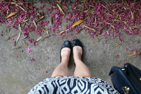 mini falda: Caucasian womans legs in black classic flats and mini skirt. On the street with fallen flower petals and leaves. Selective focus. Foto de archivo