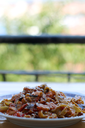 Green pasta with eggplant and tomato sauce. Grated cheese on top. Selective focus.
