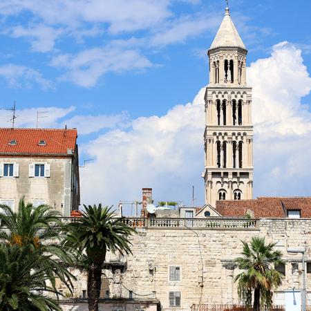 Waterfront in Split, Croatia with Saint Domnius bell tower. Split is popular touristic destination. Stock Photo