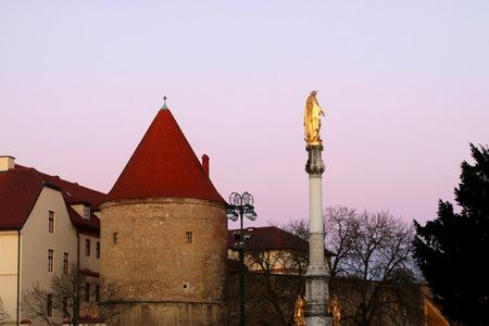 Sunset at Kaptol, part of Upper Town in Zagreb, Croatia. Stock Photo