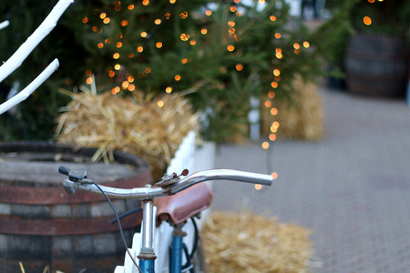 Vintage bike, used as Christmas decoration on the street of Zagreb, Croatia. Advent in Zagreb Fair was voted as the European Best Christmas Destination for 2016.