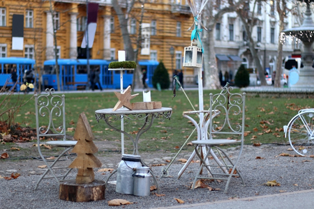 voted: Retro styled Christmas decorations in a park. In Zagreb, Croatia. Advent in Zagreb Fair was voted as the European Best Christmas Destination for 2016.