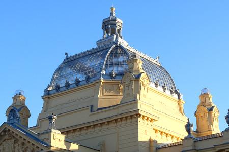 Dome on historic Art Pavilion in Zagreb, Croatia. Stock Photo