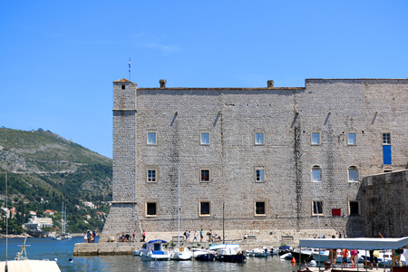st john: Fort of St. John, part of Dubrovnik city walls. Dubrovnik is popular tourist destination in Croatia and UNESCO World Heritage Site. Stock Photo