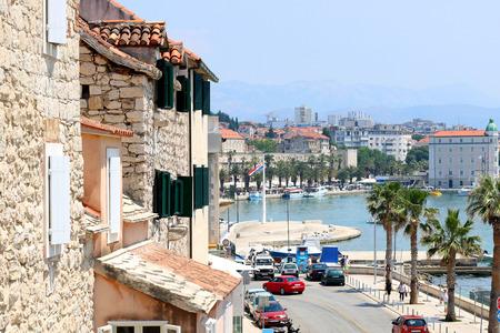 dalmatia: Old traditional Mediterranean homes on the Riva Promenade in Split, Croatia. Split is popular travel destination and UNESCO World Heritage Site. Stock Photo