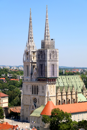 gothic revival: The Cathedral of the Assumption of the Blessed Virgin Mary - landmark in Zagreb, Croatia. Stock Photo