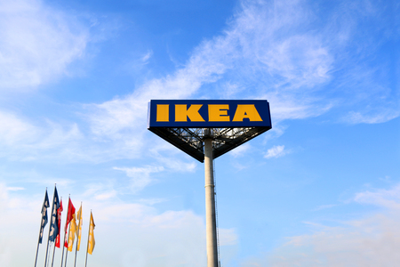 Zagreb, Croatia - June 22, 2017: Ikea sign against the blue sky. Ikea is the worlds largest furniture retailer.