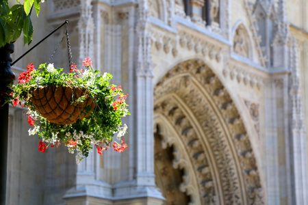 The Cathedral of the Assumption of the Blessed Virgin Mary on Kaptol - landmark in Zagreb, Croatia. Entrance detail with flowers in the foreground. Selective focus.