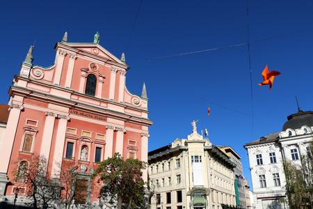 Franciscan Church of the Annunciation is  a landmark on Preseren square in central Ljubljana, Slovenia. Archivio Fotografico