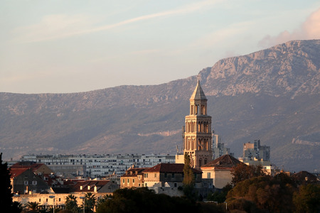 Saint Domnius bell tower and cathedral in Split, Croatia during sunset. Split is popular travel destination in Croatia.