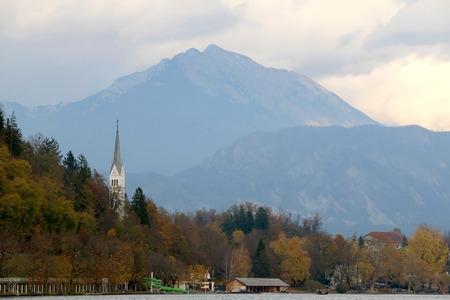St. Martin`s Parish Church on Lake Bled, Slovenia. Lake Bled is popular travel destination in Slovenia. 免版税图像