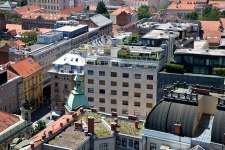 Zagreb, Croatia - June 20, 2017: Aerial view of downtown in Zagreb, Croatia on a sunny day. Redactioneel