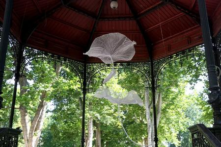 Spring decorations in a pavilion in park Zrinjevac, central Zagreb, Croatia.