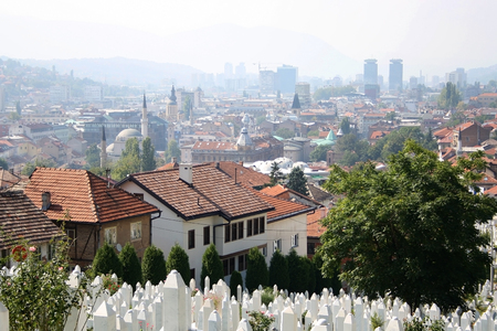 Aerial view of Sarajevo from Yellow Fortress on a sunny day.