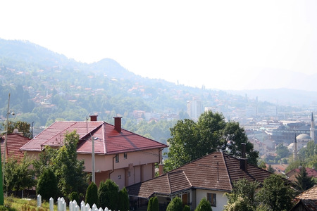 Aerial view of Sarajevo, Bosnia and Herzegovina, from Yellow Fortress on sunny day.