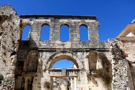 Ancient Silver Gate - landmark in Split, Croatia. Split is popular summer travel destination and UNESCO World Heritage Site.