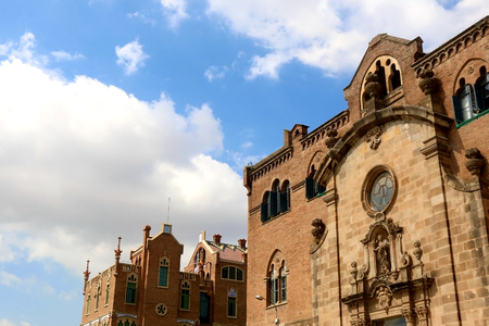 Hospital de Sant Pau is historical art deco complex building, ex hospital, now monument and UNESCO World Heritage Site.